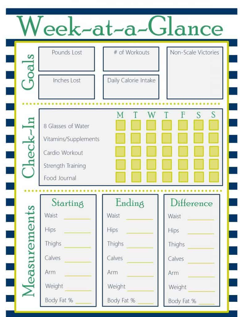 weekly fitness plan template - printable fitness planner saving dollars sense