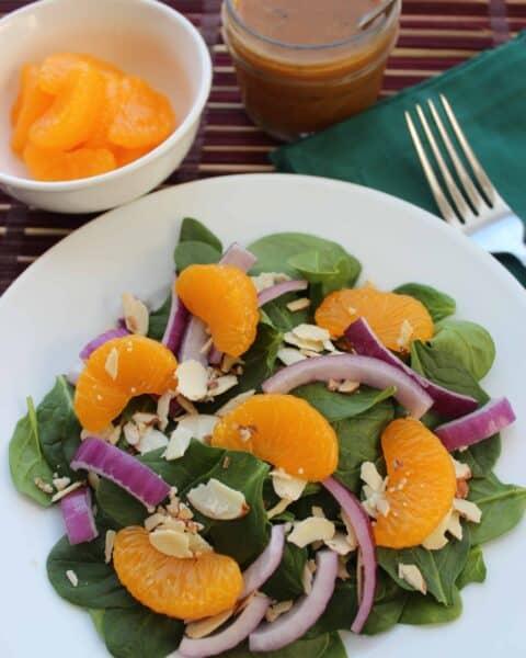 Mandarin Orange Spinach Salad with Orange Vinaigrette Dressing