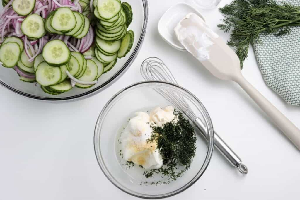 Mix ingredients for cucumber salad together for sauce.