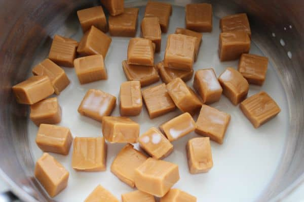 caramel pieces cut into small squares.