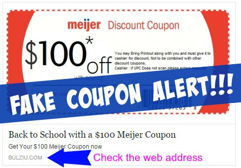 fake coupon meijer