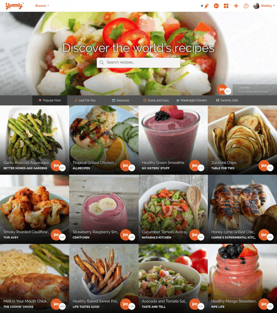 A variety of different foods and recipes on Yummly.