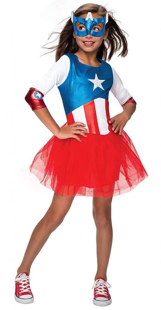 Lady Captain America Halloween youth costume.