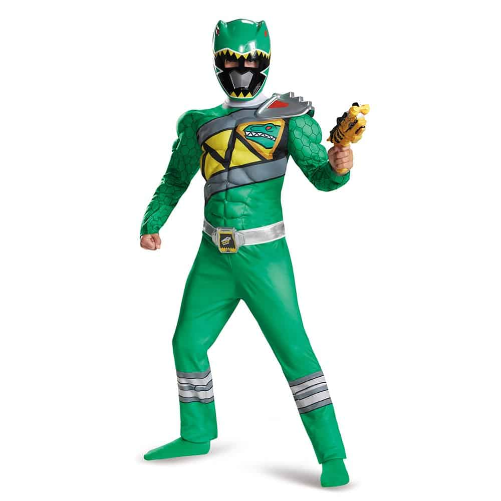 Green power ranger Halloween youth costume.