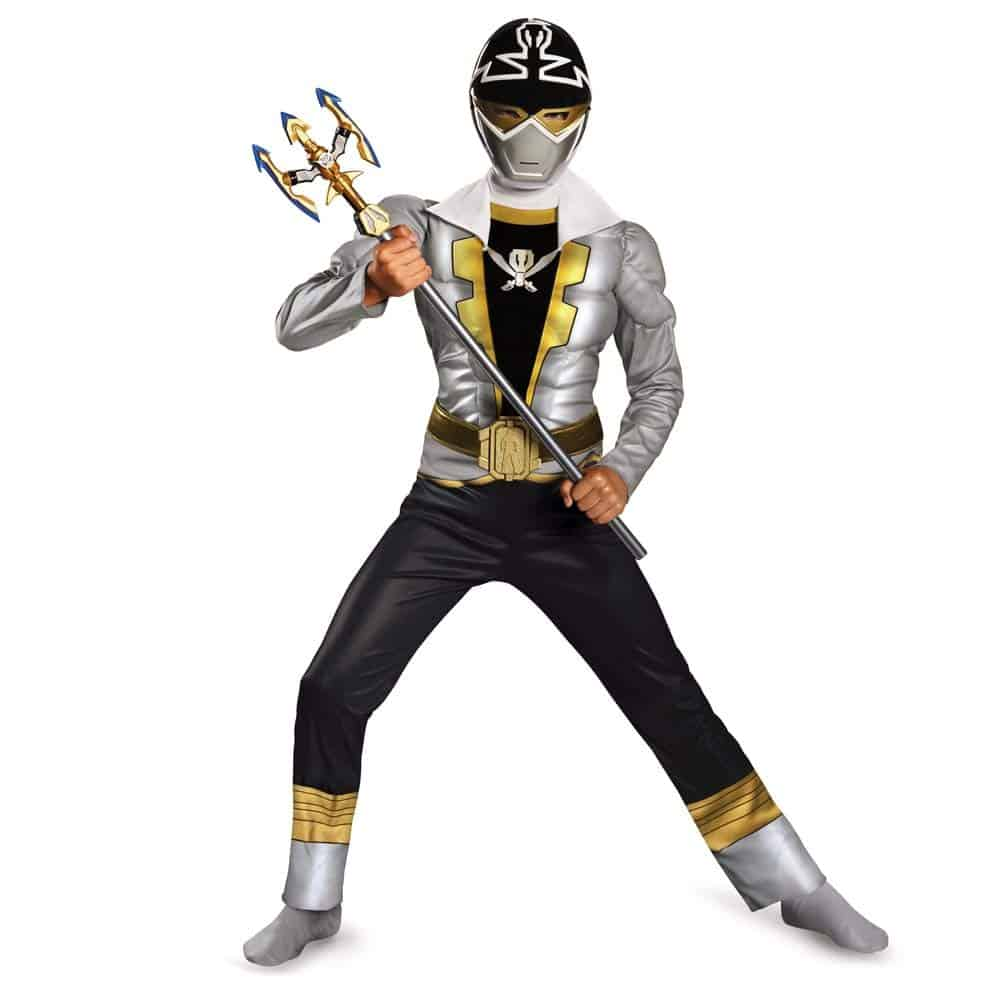 Silver ranger power rangers youth costume for Halloween.
