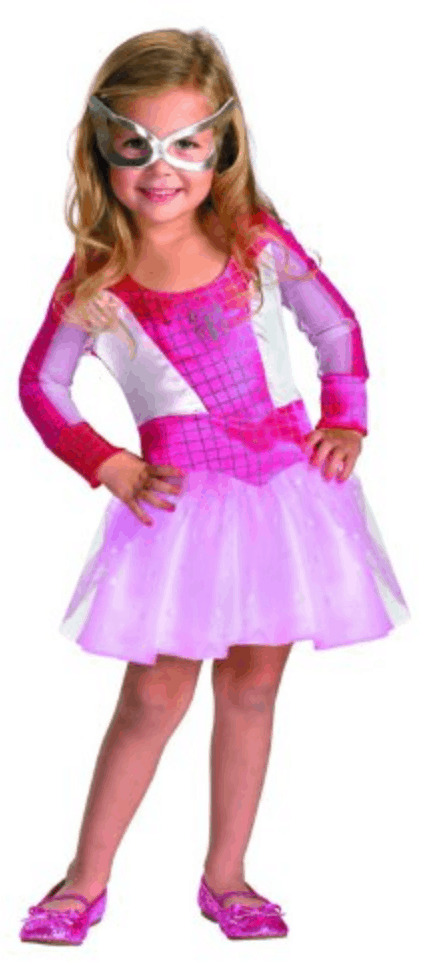 Girls pink Spiderman Halloween costume.