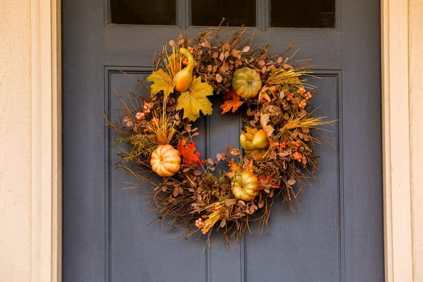 Beautiful wreath on the door. Easy Ways To Save Money This Fall
