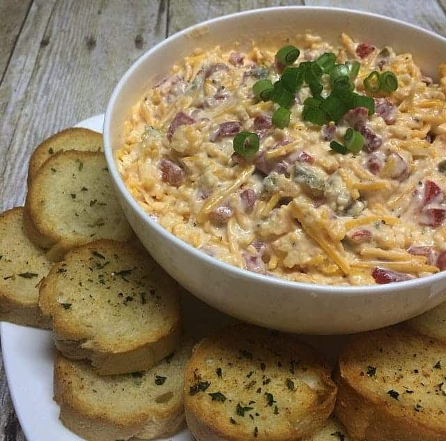 Three Cheese Dip and Baguettes