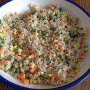 Teriyaki Tilapia with rice and veggies.