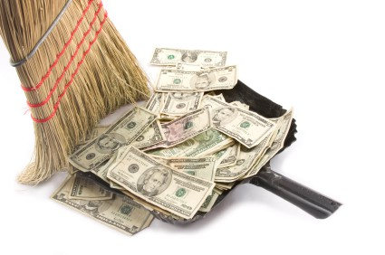 Sweeping up Money.