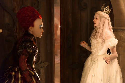 Helena Bonham Carter is the Red Queen and Anne Hathaway is the White Queen in Disney\'s ALICE THROUGH THE LOOKING GLASS, an all new adventure featuring the unforgettable characers from Lewis Carroll\'s beloved stories.