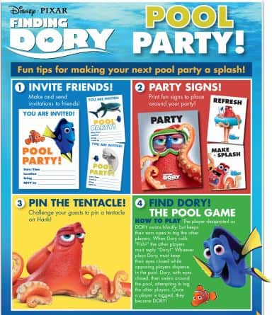 Free Finding Dory Pool Party Kit + Recipes