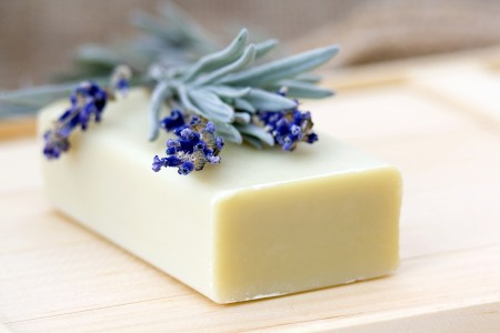 Bar of natural lavender soap.