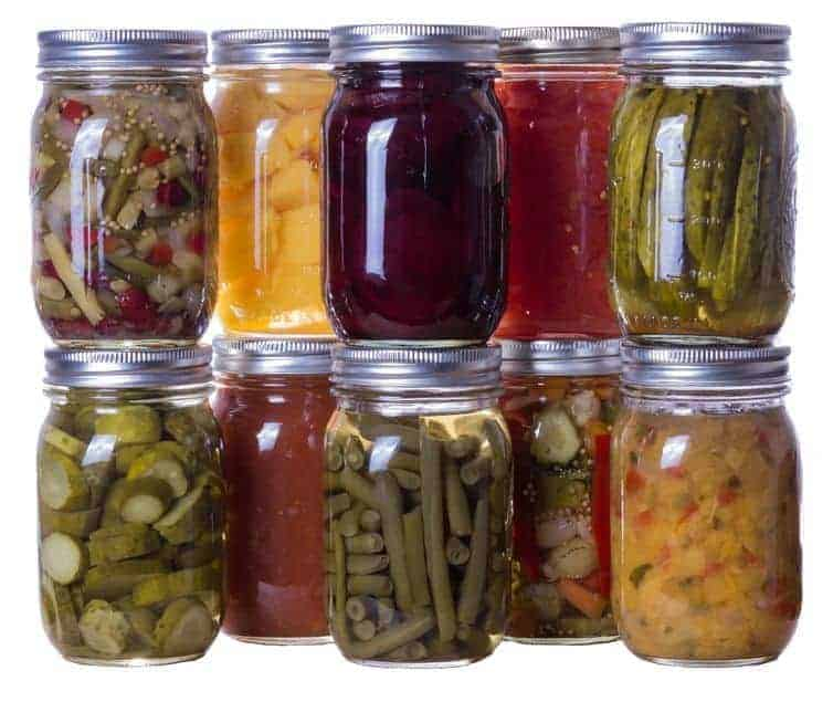 14001001 - group of homemade preserves canned goods in mason jars