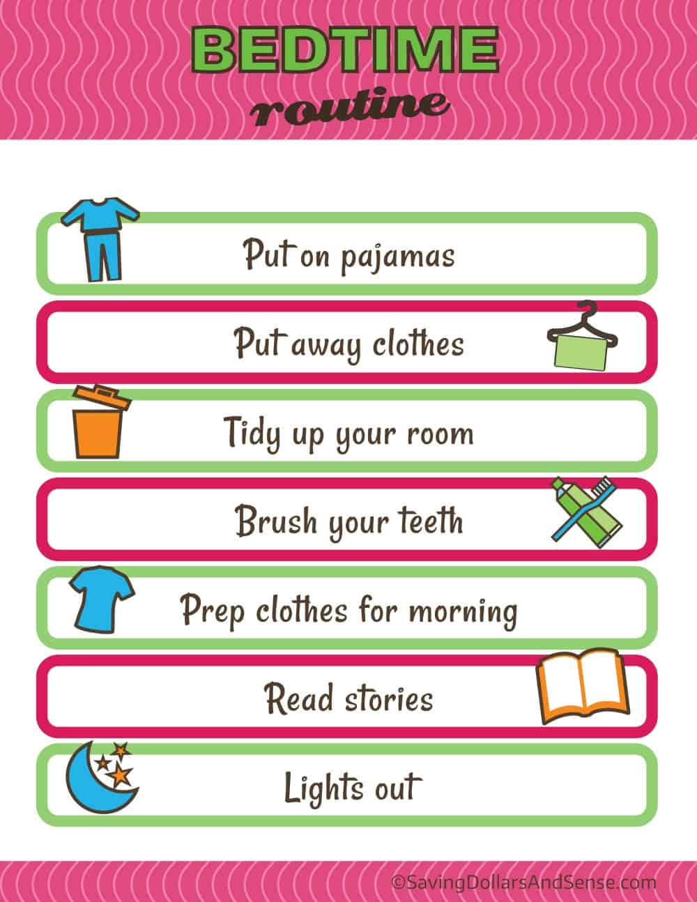 Bedtime Routine Chart for Kids Daily Routine Charts