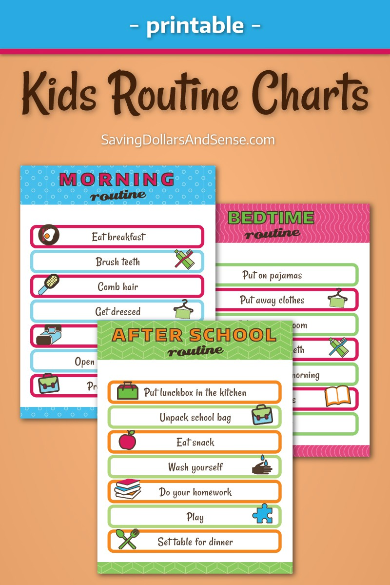 Kids daily routine charts. Free printable for your home.