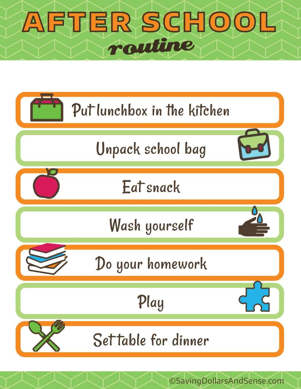 after school routine for Kids Daily Routine Charts