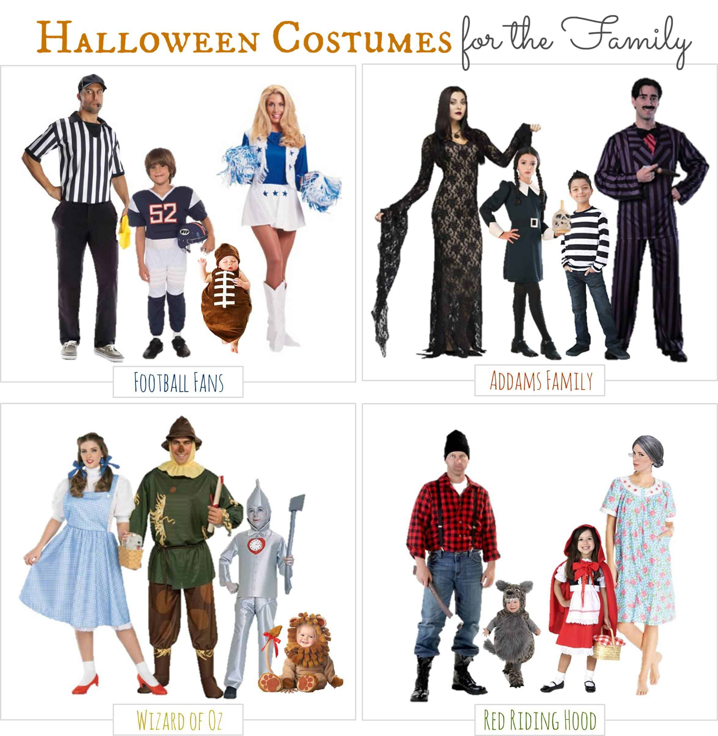 A collection of Halloween costumes for the entire family.
