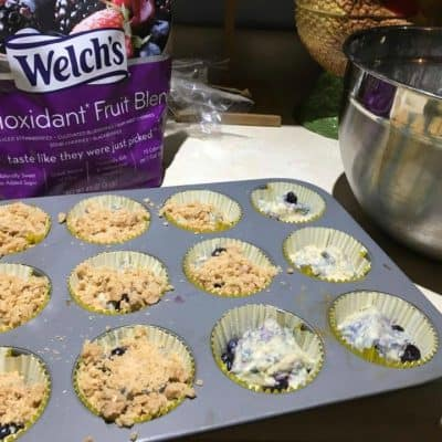 Cream Filled Berry Streusel Muffins with Lemon Glaze