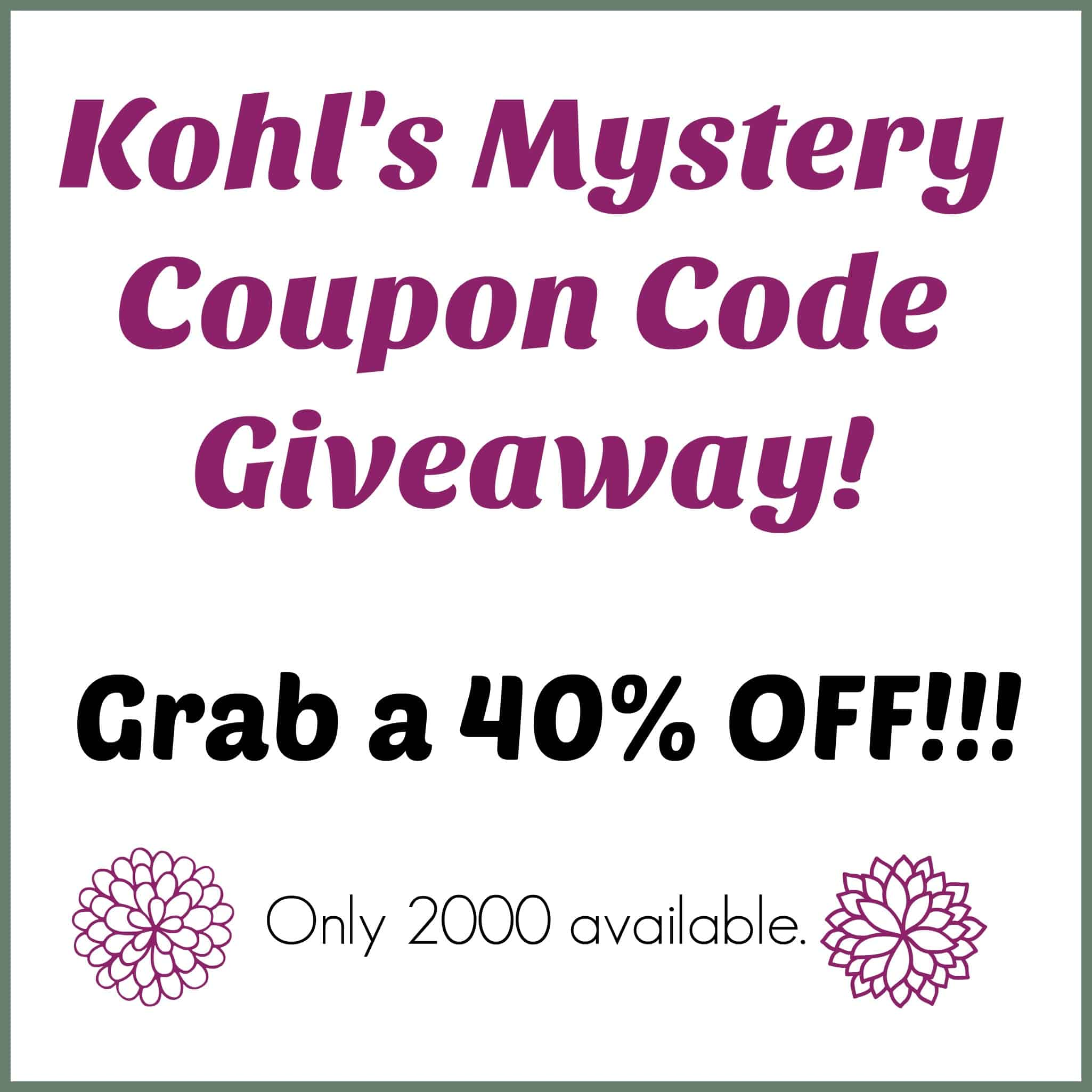 Kohls discount coupon