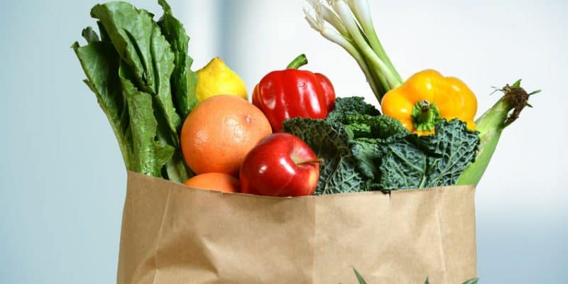 47647284 - assortment of fresh produce in grocery paper bag by window
