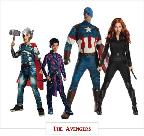 Halloween costumes for the entire family. This family is dressing up as The Avengers.