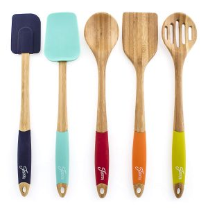 Fiesta 5-piece bamboo and silicone utensil set.