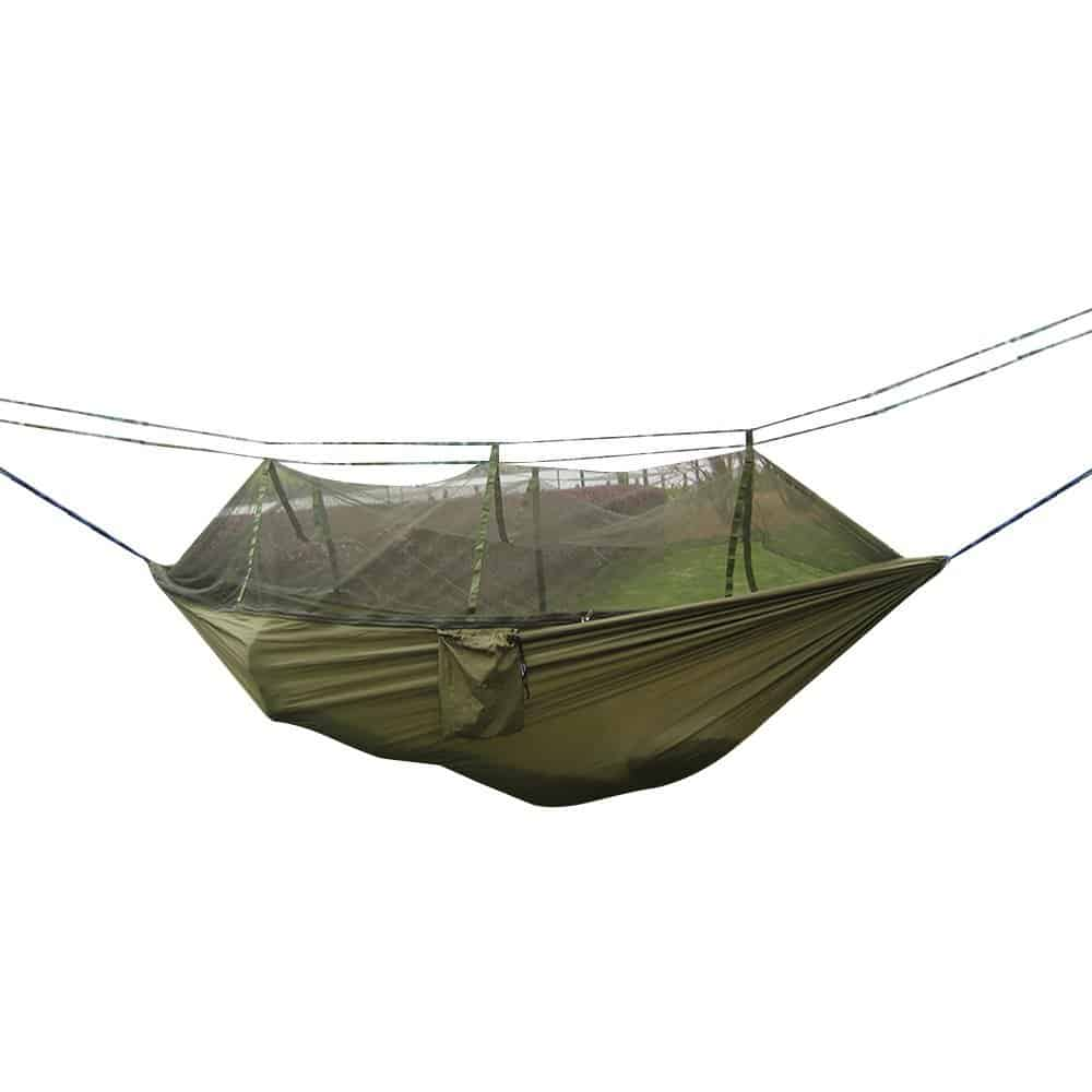 Camping hammock with mosquito net.