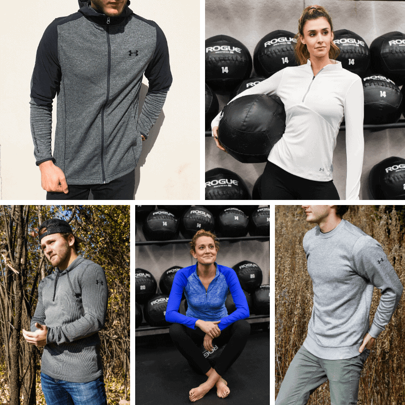 A group of people posing in Under Armour clothes.