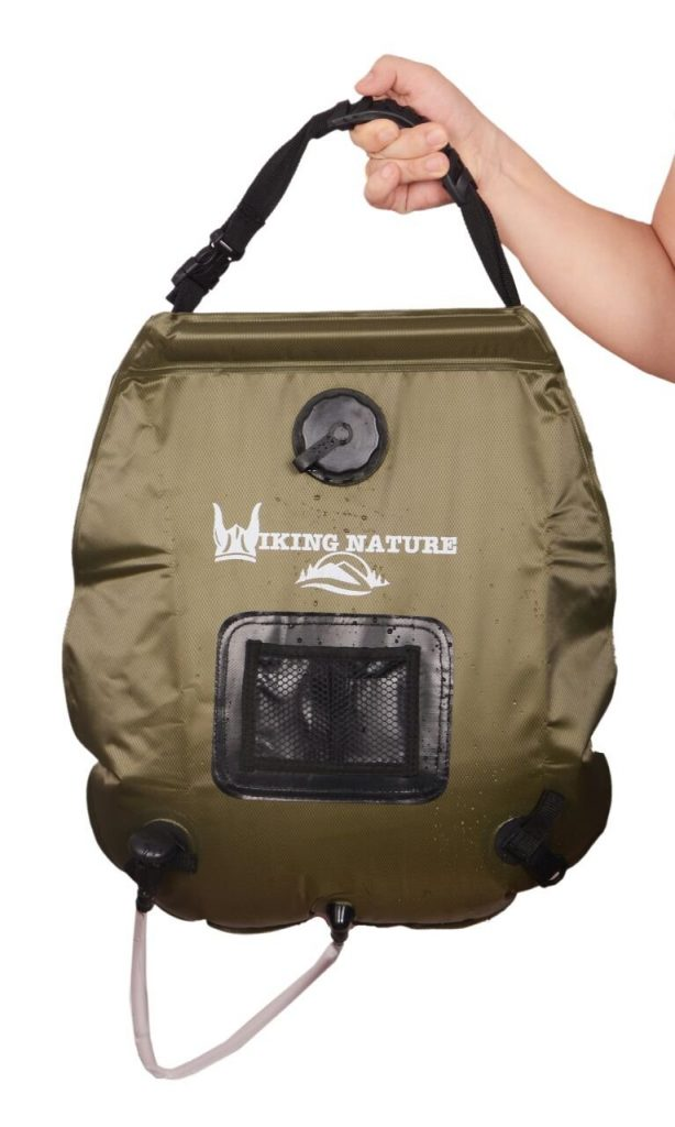 Premium solar camping shower bag.