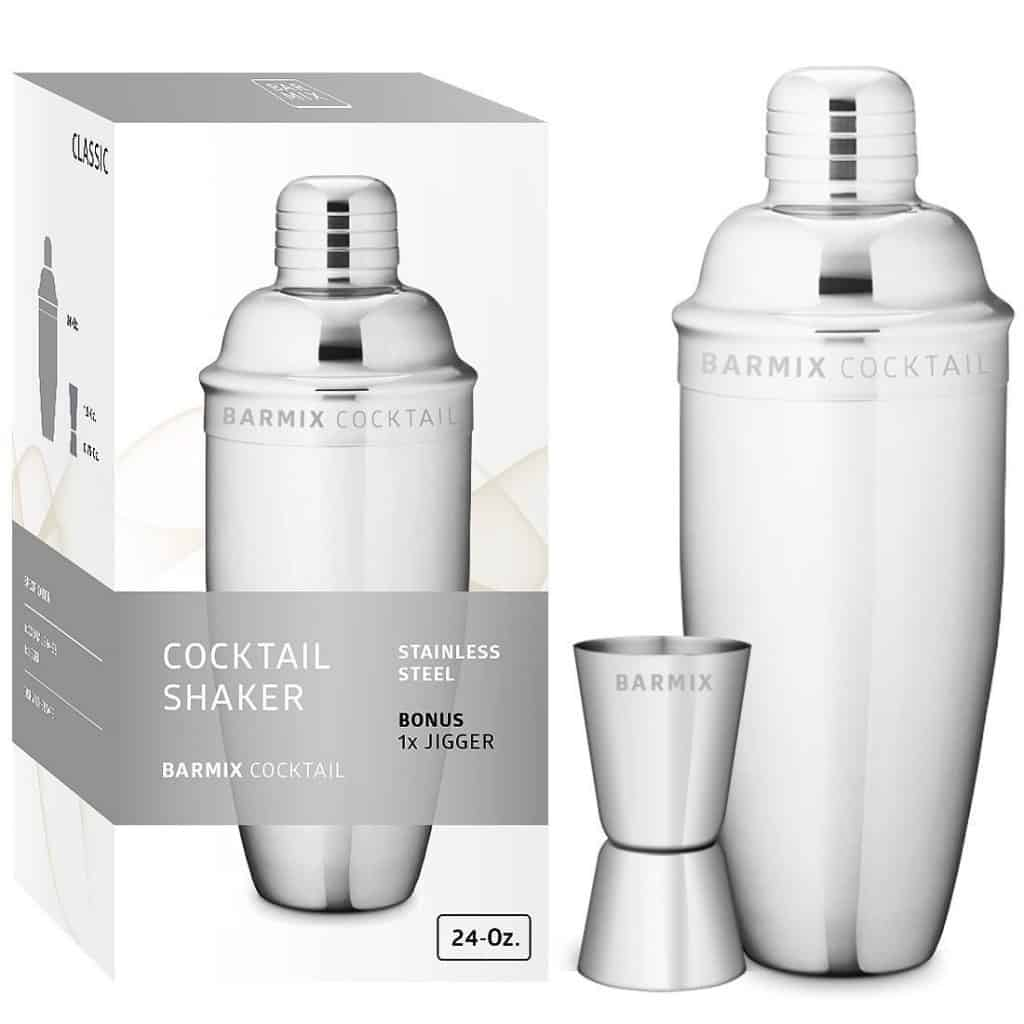 Barmix cocktail shaker 24 ounce, stainless steel, jigger included.