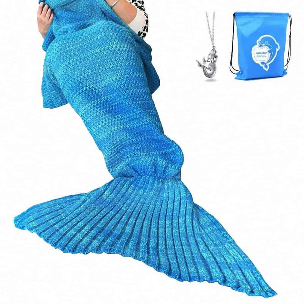 Mermaid tail crocheted blanket.
