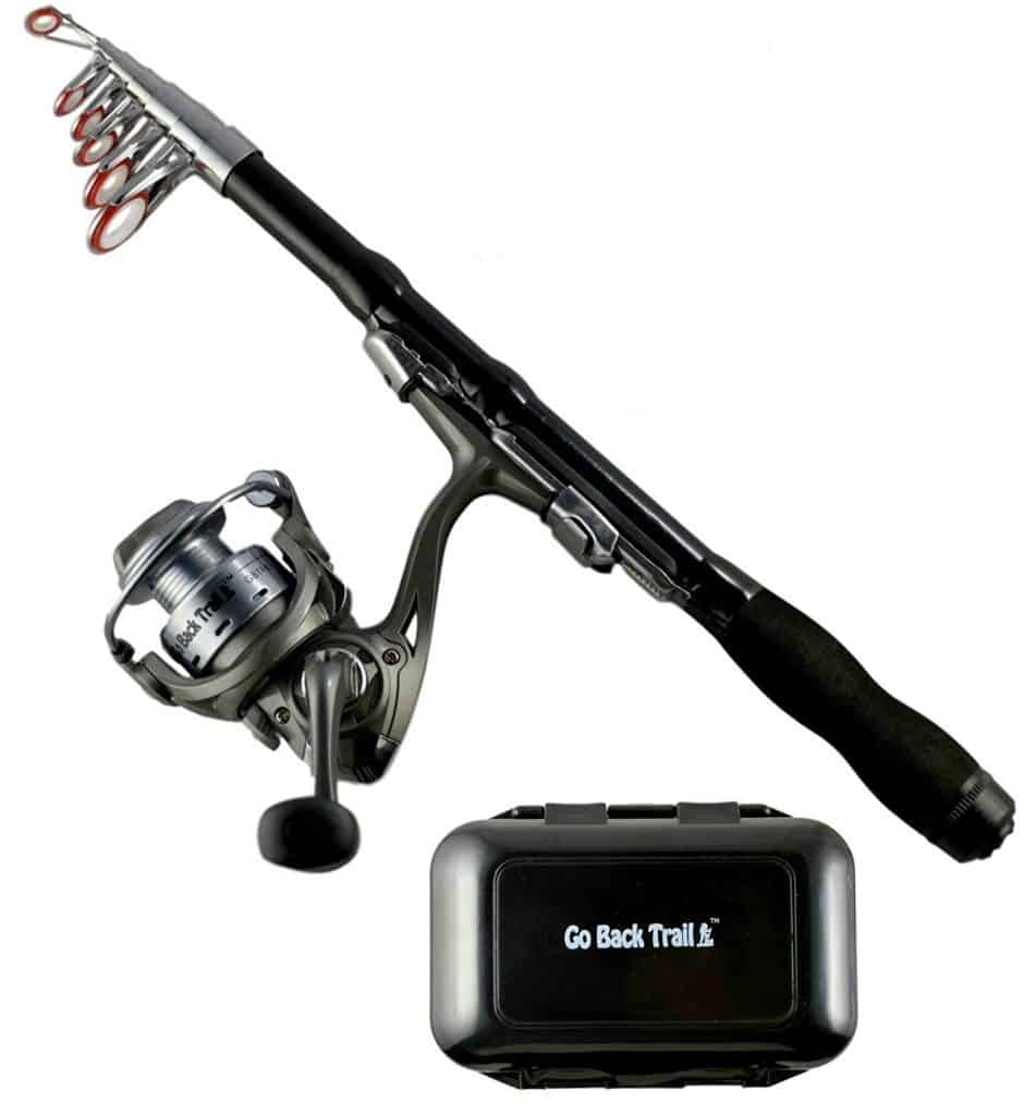 Travel and hiking fishing rod kit.