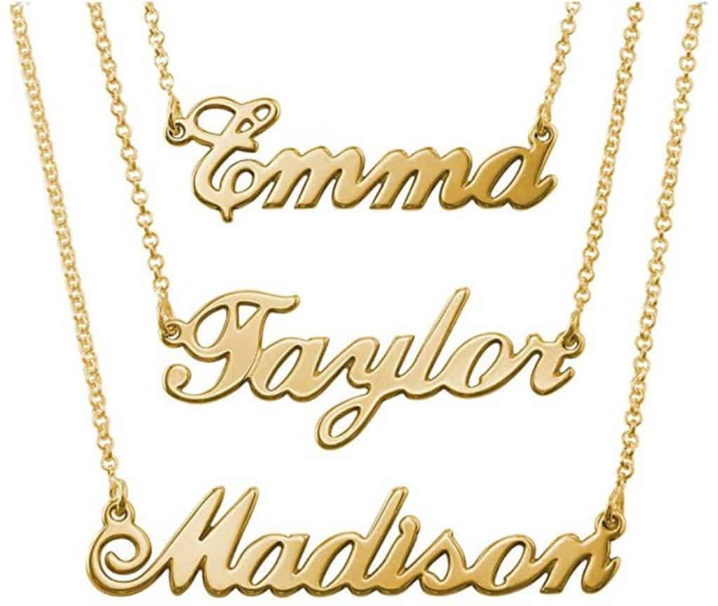 18K gold plated name pendant and necklace.