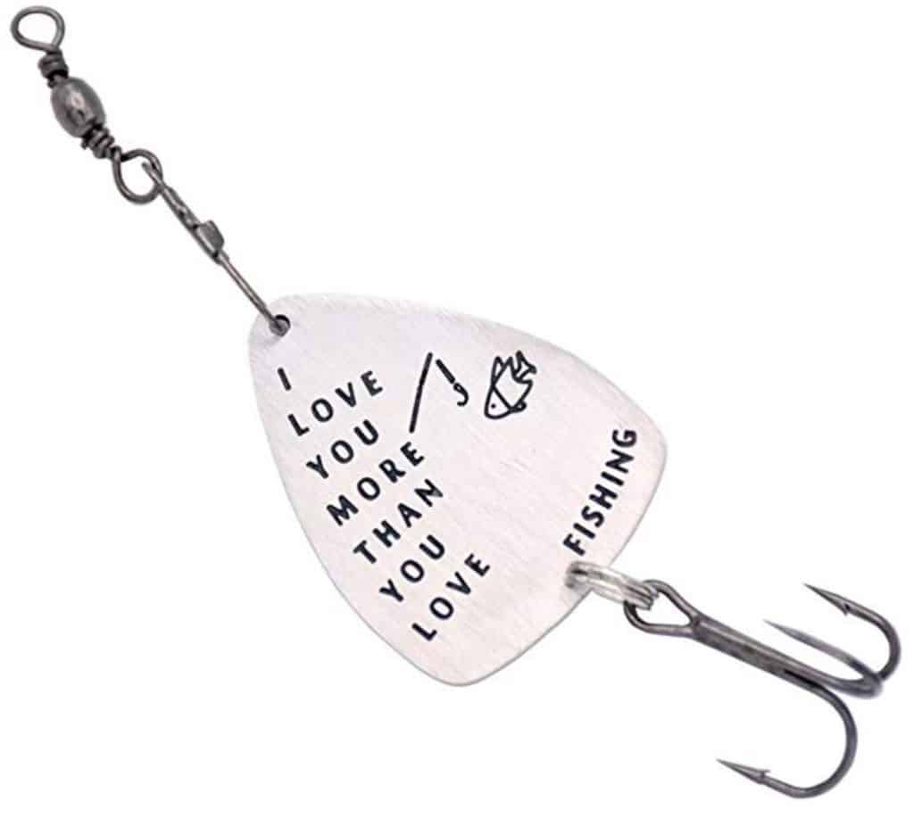 I love you hand stamped fishing lure.