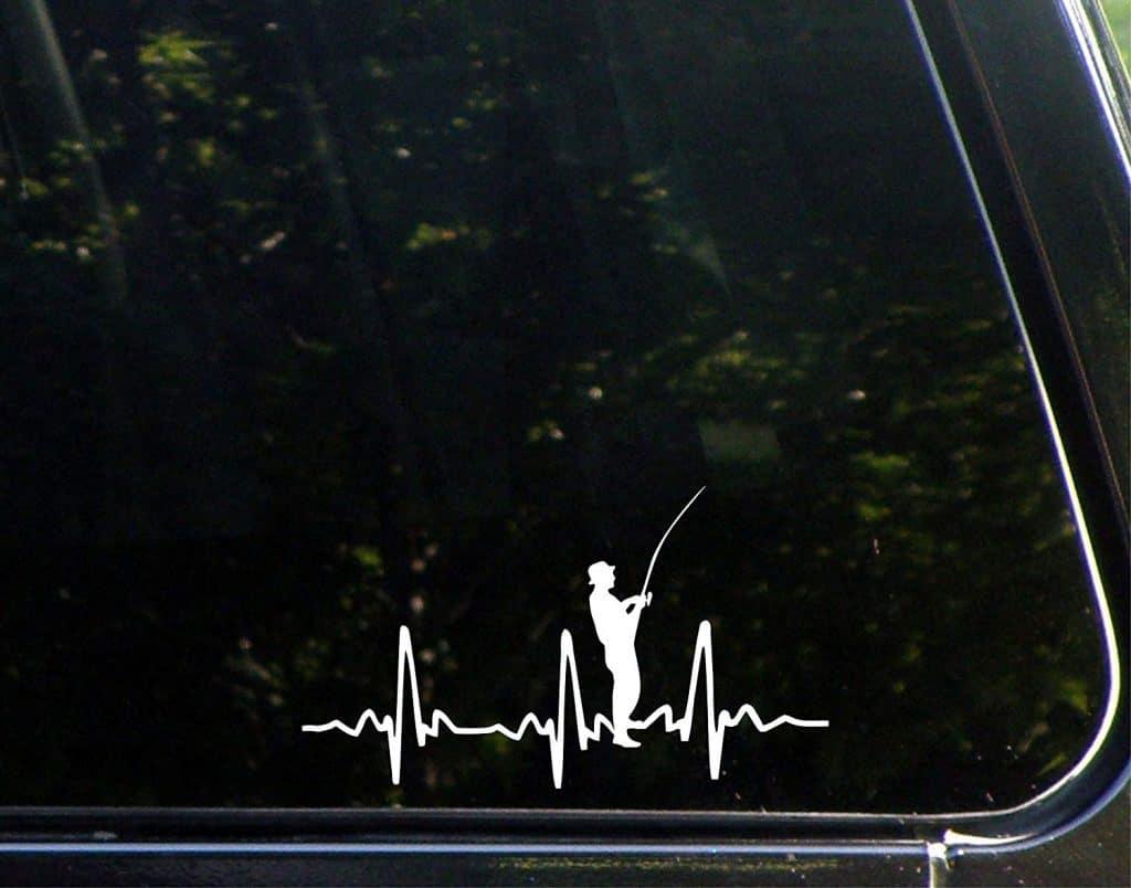 Fisherman heartbeat vinyl window decal.
