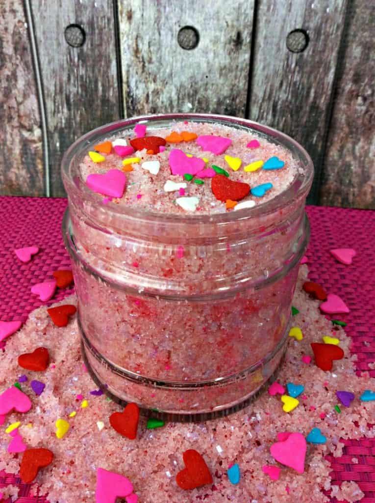 Strawberry sugar scrub recipe.