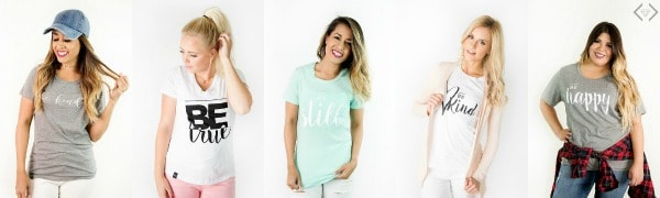A group of female models wearing t-shirts.