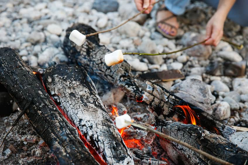 S\'mores over campfire.