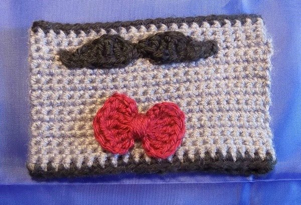 Mustache and bow tie cuff cozy for mug