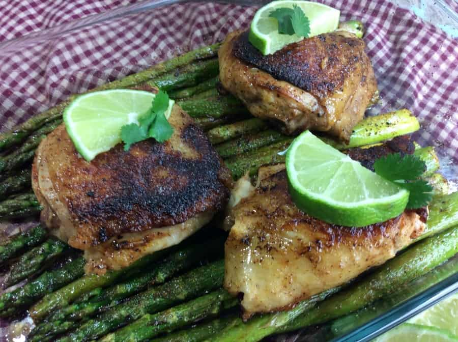 One Skillet Chicken and Asparagus