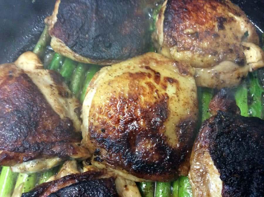 One Skillet Citrus Chicken and Asparagus dinner recipe