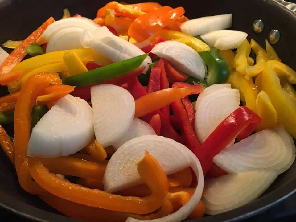 Mixture of peppers and onions.