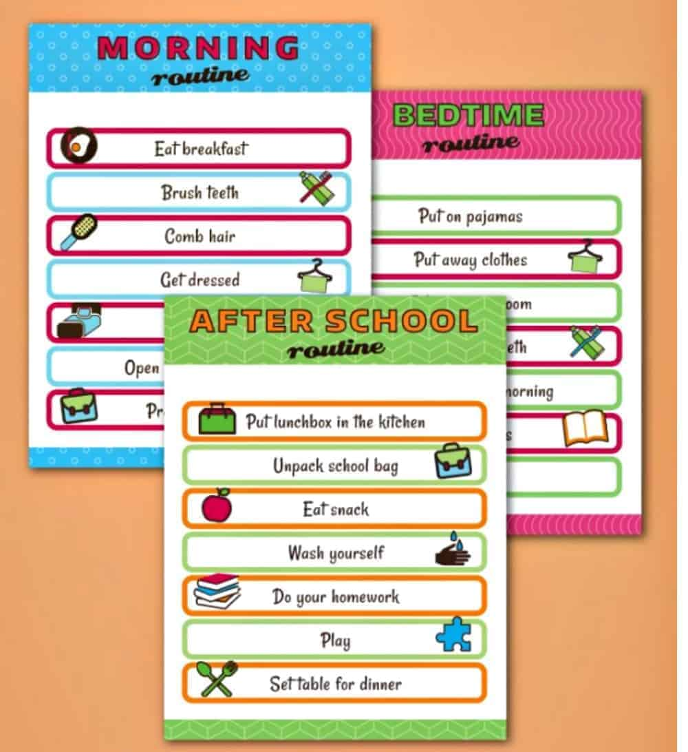 Kids Daily Routine Charts