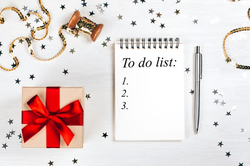 Christmas planning to do list.