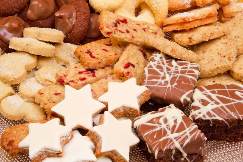An assortment of Christmas cookies for a cookie exchange.