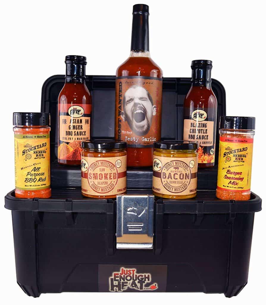 Gourmet BBQ sauce toolbox gift set.