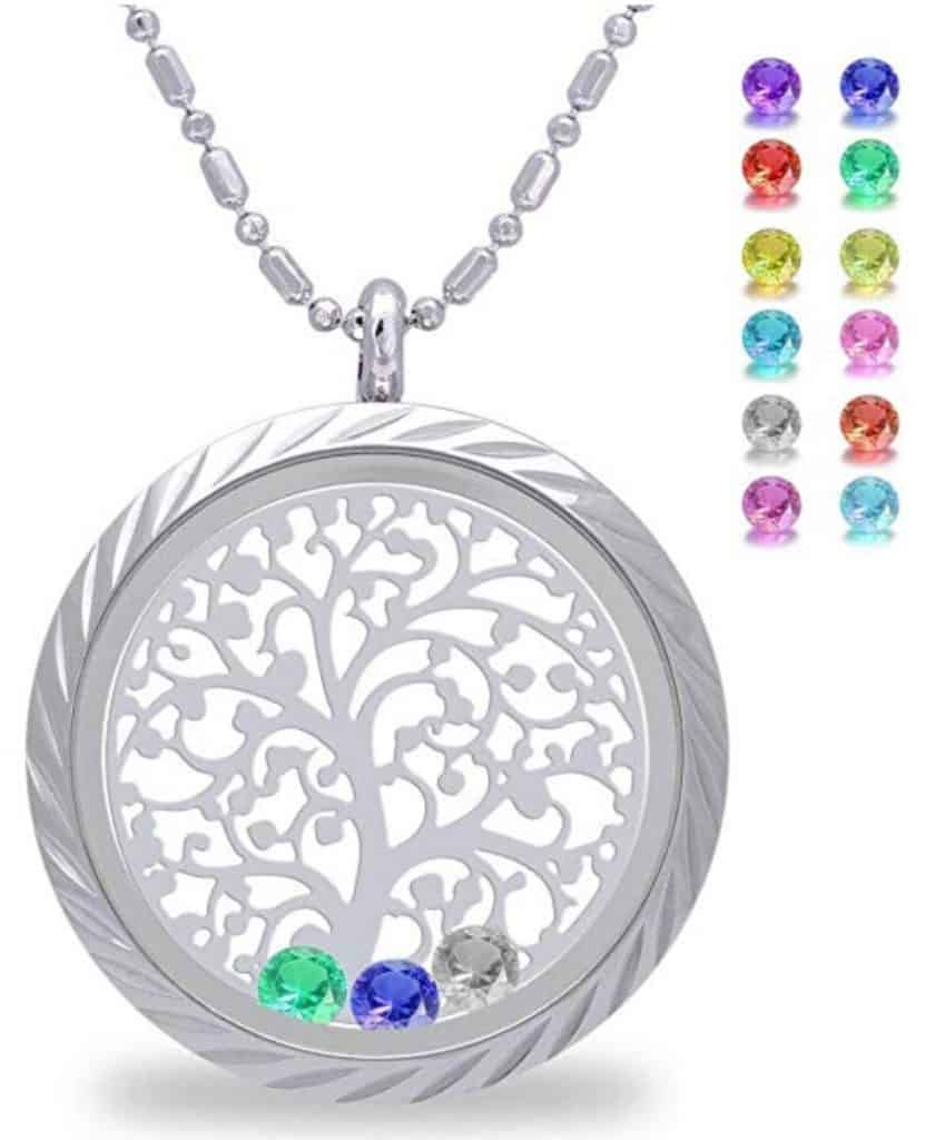 Family tree memory locket with birthstones.