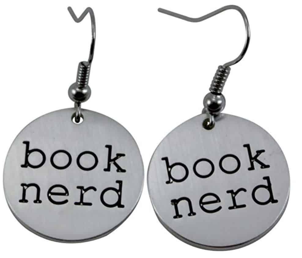 Book nerd silver-tone earrings.