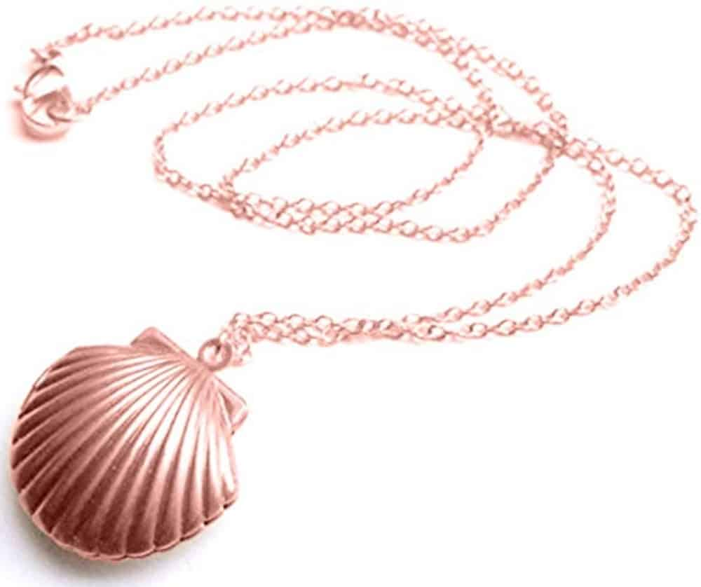Adecco shell locket necklace.
